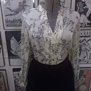 Delicate Flowers Button Down Top
